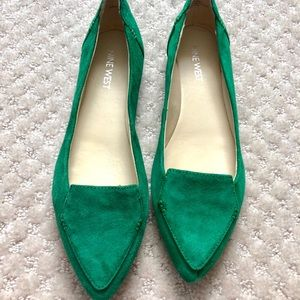 Nine West Emerald green suede ballet flat shoes